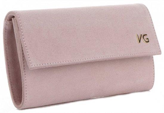 Firmowe Kopertówki Skórzane Vittoria Gotti Eleganckie Listonoszki na łańcuszku Made in Italy Pudrowy Róż