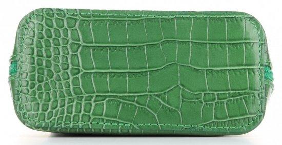 Vittoria Gotti Mała Klasyczna Listonoszka Skórzana we wzór Aligatora Zielona