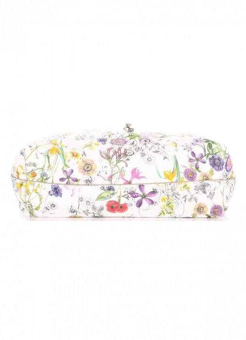 Dwustronna Torba Damska XL David Jones w Kwiaty z Kosmetyczką Stare Złoto
