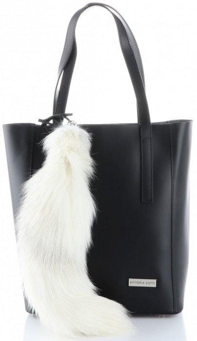 Brelok do torebki Naturalny Duży Lisi Ogon Biały
