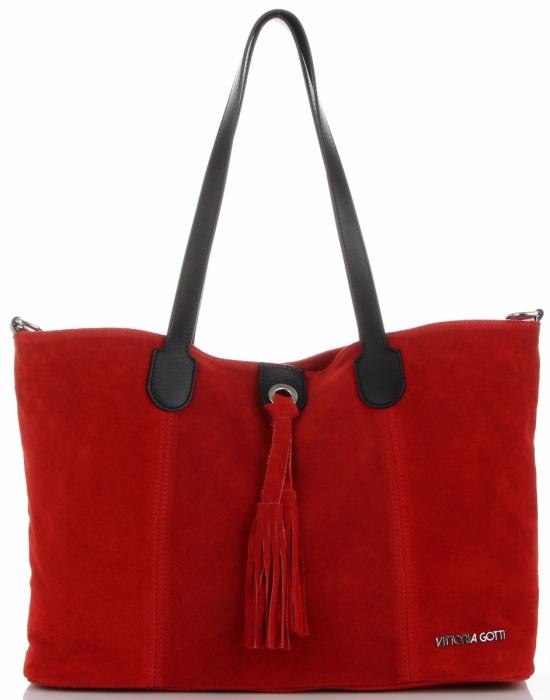 Torebka Skórzana marki Vittoria Gotti Modny Shopper Made in Italy Czerwona