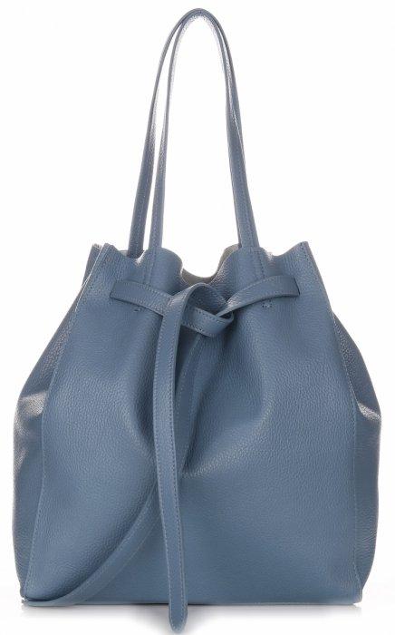 581af55a0fcae Włoskie Torebki Skórzane ShopperBag z Kosmetyczką Niebieska ...