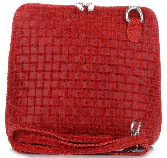 e69c231f09e6c Mała Włoska Torebka Skórzana Listonoszka firmy Genuine Leather Czerwona