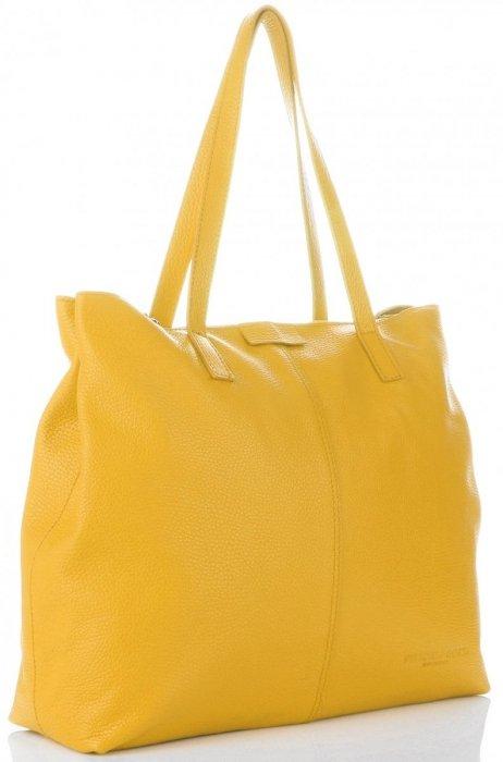 fa1d397463795 Duża Torba Skórzana firmy Vittoria Gotti na każda okazję Żółta ...