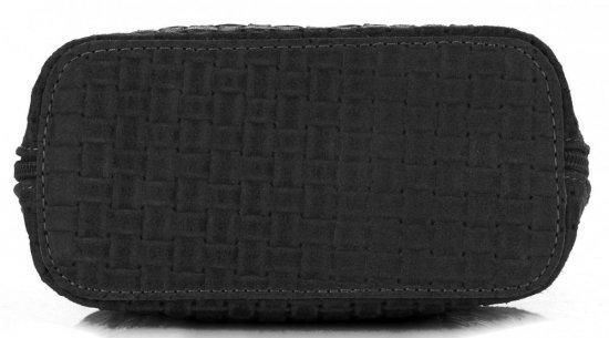 Mała Włoska Torebka Skórzana Listonoszka firmy Genuine Leather Czarna