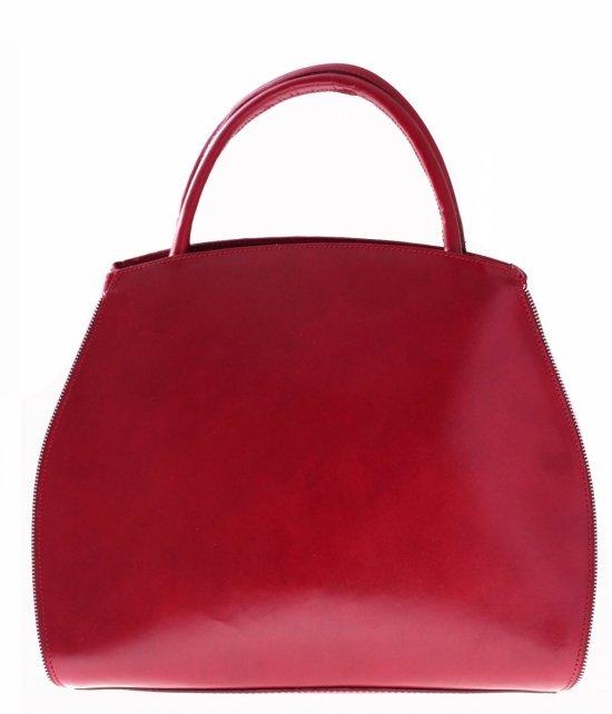 Torebka skórzana kuferek z możliwością poszerzenia Czerwona
