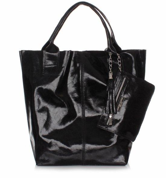 Kožená Taška Shopper Bag Lak Čierna