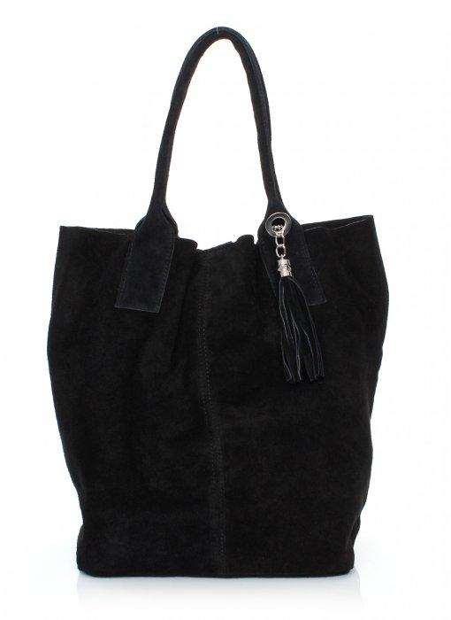Kožená Taška Shopper Bag Pravá Semišová Čierna