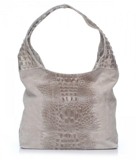 Talianske Kožené Tašky Vera Pelle Aligátor Pattern Grey