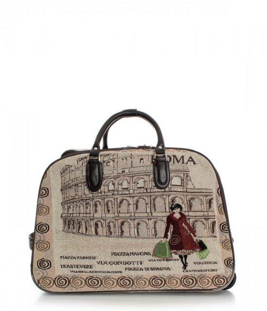 Mała Torba Podróżna Kuferek Or&Mi Kuferek Roma Multikolorowa - Beżowa