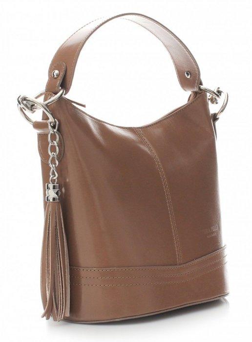 Klasická kožená kabelka s dlhým popruhom béžová