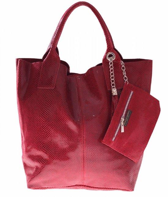 Shopper Bagi Patent Kožené Tašky Červená