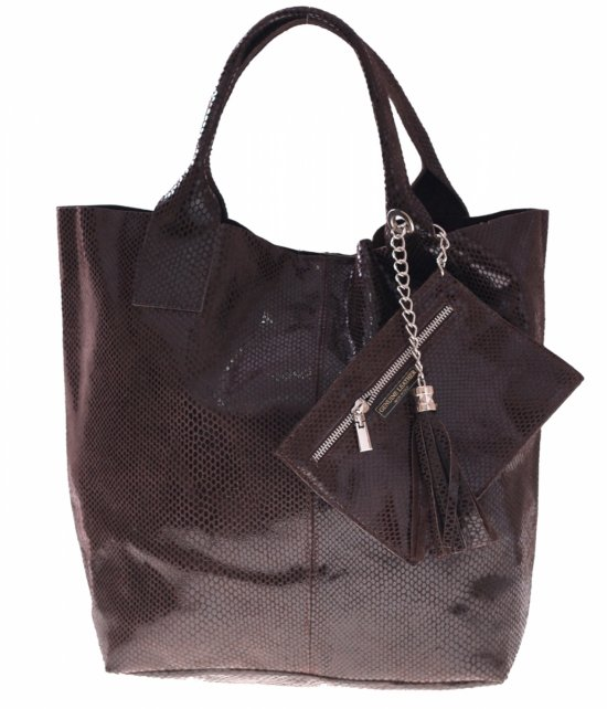 Shopper bagi patent čokoláda kožené tašky