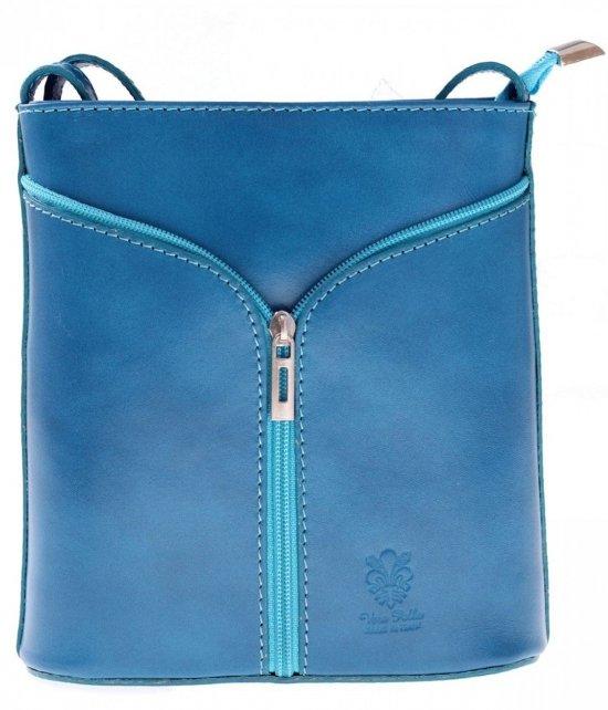 Kožená taška na Messenger vyrobená v Taliansku tyrkysová