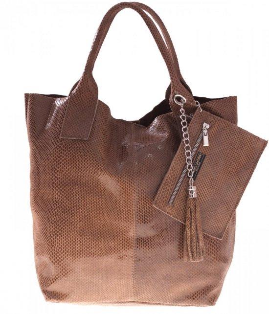 Kožené nákupné tašky s lakom Žltá