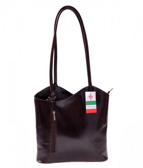 Taška Kožená taška vyrobená v Taliansku čokoláda
