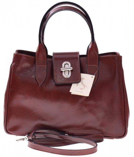 Taška Kožená taška vyrobená v Taliansku hnedá