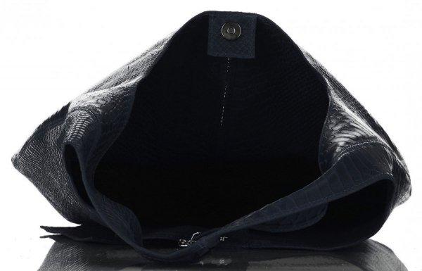 618d45b7d1 Velká dámská kožená kabelka Shopper Aligátor Vittoria Gotti tmavě modrá