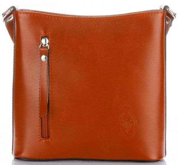 439db08e58015 Klasyczna Torebka Listonoszka Skórzana Genuine Leather Pelle Ruda ...