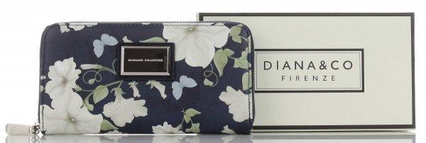 6a1a42ec16979 Stylowe Portfele Damskie w kwiaty marki Diana amp Co Multikolor Granatowy
