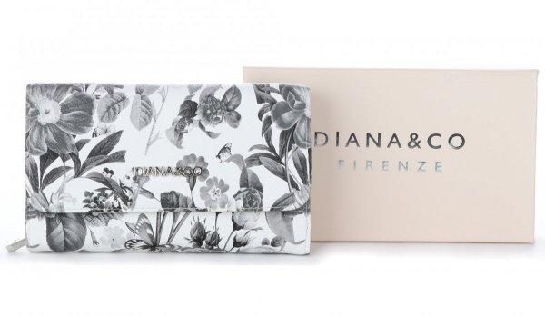 e6e852ffb9805 Modny Portfel Damski Diana&Co Firenze wzór Kwiatów Szary