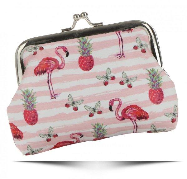 00929ab760004 Modne Portmonetki Damskie firmy David Jones Multikolor Flamingi &  Różowo Białe Paski