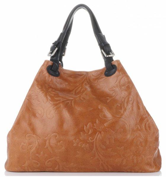 049b40c32b135 Włoska Torba Skórzana Duży Shopper z tłoczeniami firmy Genuine Leather Ruda