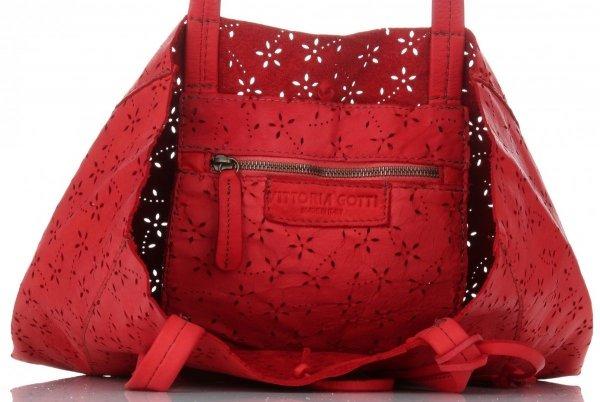 6ed8b4aa7 Vittoria Gotti Premium Torebka Skórzana Ażurowy ShopperBag w stylu Vintage  Czerwona