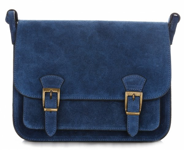 9e50c45374d2b Torebki Listonoszki Skórzane Genuine Leather Niebieska ...