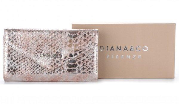 19d1fb3e0f08 Elegancki Portfel Damski Diana Co Firenze wzór Węża Złoty ...