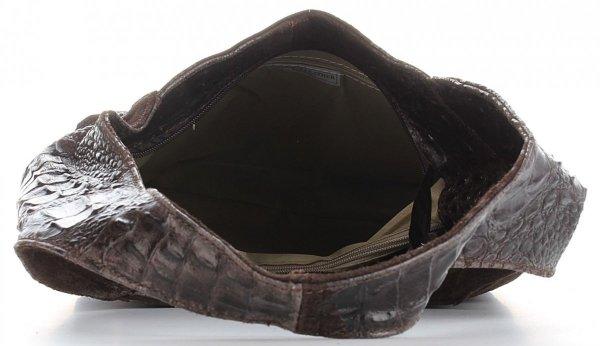 02f569ea33b47 Włoskie Torebki Skórzane Vera Pelle wzór Aligatora Czekoladowa ...