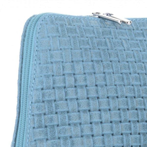 1fc6ae93d7bc0 Mała Włoska Torebka Skórzana Listonoszka firmy Genuine Leather Błękitna