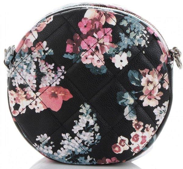 a124990cd84a0 Okrągła Pikowana Torebka Damska Modna Listonoszka wzór w kwiaty marki  Diana&Co Multikolor Czarna