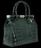 Elegantní Lakovaná Kožená Kabelka Kufřík s motivem aligátora Vittoria Gotti Made in Italy Lahvově Zelená
