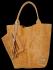 Modne Torebki Skórzane Shopper Bag XL z Etui firmy Vittoria Gotti Jasno Ruda