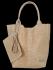 Modne Torebki Skórzane Shopper Bag XL z Etui firmy Vittoria Gotti Beżowa