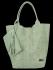 Modne Torebki Skórzane Shopper Bag XL z Etui firmy Vittoria Gotti Jasno Zielona