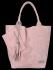 Włoskie Torebki Skórzane Shopper Bag w motyw aligatora firmy Vittoria Gotti Pudrowy Róż