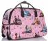 Torba Podróżna na kółkach ze stelażem Or&Mi English Girl Multikolor - Różowa