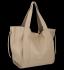 Vittoria Gotti Włoska Torebka Skórzana Shopper Bag z Kosmetyczką Ciemno Beżowa