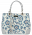 Vittoria Gotti Modna Torebka Skórzana Elegancki Kuferek Made in Italy we wzór malowanych kwiatów Multikolor Niebieska