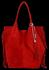 Modna Torebka Skórzana Zamszowy Shopper Bag w Stylu Boho firmy Vittoria Gotti Czerwona