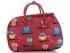 Mała Torba Podróżna Kuferek Or&Mi wzór w sowy Multikolor - Czerwona