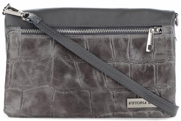 Genuine Leather Włoska popielata torebka listonoszka skóra łączona z zamszem