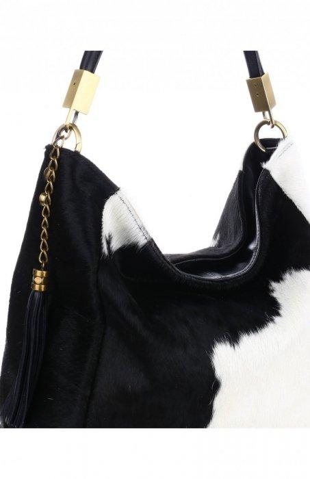 torebka skórzana Genuine Leather Unikatowa Włoska Torebka Skórzana Cała z Naturalnego Włosia Biało Czarna