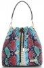 Vittoria Gotti Firmowa Torebka Skórzana Ekskluzywny Shopper Made in Italy w modny wzór kolorowego węża Turkusowa