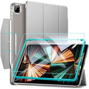 ESR ASCEND TRIFOLD & TEMPERED GLASS IPAD PRO 12.9 2021 GREY