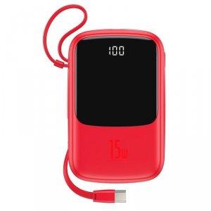 Baseus Q pow power bank 10000mAh 3A 15W 2x USB / USB Typ C + wbudowany kabel USB Typ C czerwony (PPQD-A09)