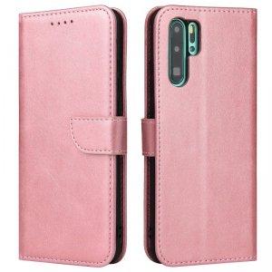 Magnet Case elegancki futerał etui pokrowiec z klapką i funkcją podstawki Huawei P30 Pro różowy