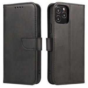 Magnet Case elegancki futerał etui pokrowiec z klapką i funkcją podstawki Huawei P40 Lite E czarny